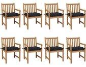 Chaises de jardin 8 pcs avec coussins noir Bois de teck solide - vidaXL