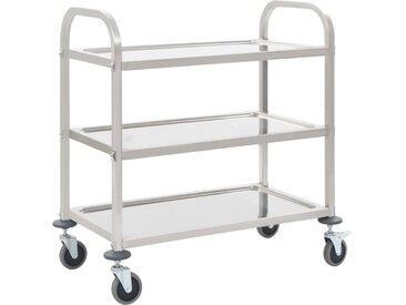 Chariot de cuisine à 3 niveaux 87x45x83,5 cm Acier inoxydable - vidaXL