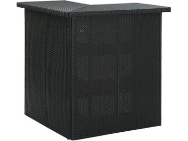Table d'angle de bar Noir 100x50x105 cm Résine tressée - vidaXL