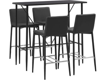 Ensemble de bar 5 pcs Similicuir Gris - vidaXL