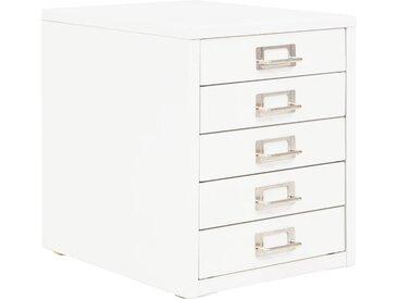 Classeur à 5 tiroirs Métal 28 x 35 x 35 cm Blanc - vidaXL