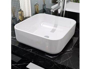 Lavabo carré Céramique Blanc 38x38x13,5 cm - vidaXL