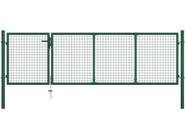 Portillon Acier 350x100 cm Vert - vidaXL