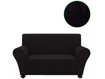 housse de canapé en polyester jersey extensible noir - vidaXL