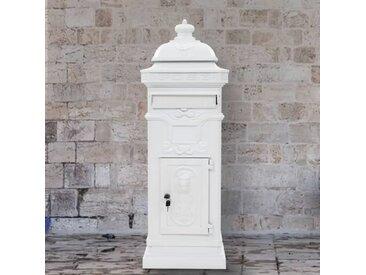 Boîte aux lettres à pilier Aluminium Vintage antirouille Blanc  - vidaXL