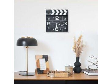 Horloge murale de cinéma Noir 33x5x34 cm Métal et MDF - vidaXL