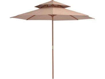 Parasol double avec mât en bois 270 cm Taupe - vidaXL