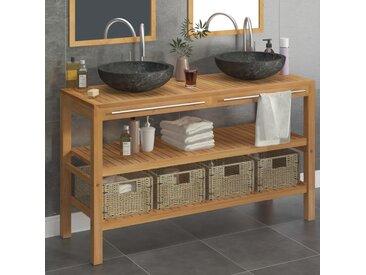 Armoire de toilette Teck solide avec lavabos en marbre Noir  - vidaXL