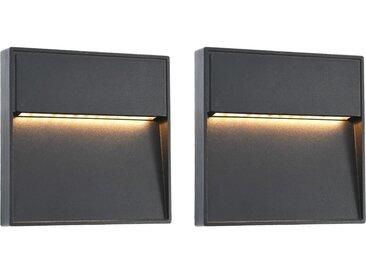 2 pcs Appliques murales LED d'extérieur 3 W Noir Carré - vidaXL