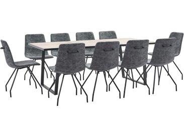 Ensemble de salle à manger 11 pcs Noir Similicuir - vidaXL