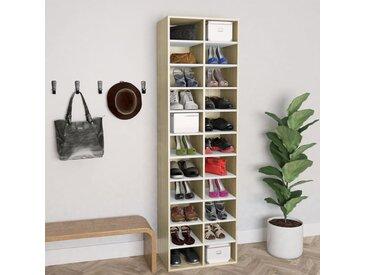 Armoire à chaussures Blanc chêne sonoma 54x34x183 cm Aggloméré - vidaXL