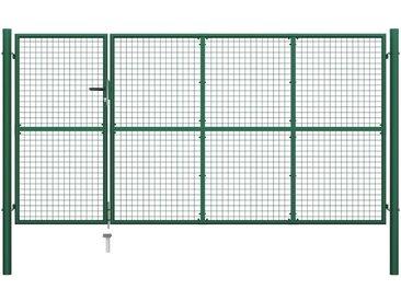 Portillon Acier 350x150 cm Vert - vidaXL
