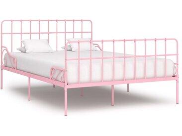 Cadre de lit et sommier à lattes Rose Métal 140 x 200 cm - vidaXL