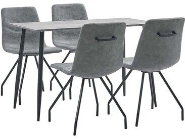 Ensemble de salle à manger 5 pcs Gris foncé Similicuir - vidaXL