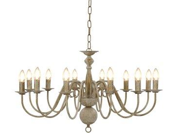 Lustre Blanc antique 12 ampoules E14 - vidaXL
