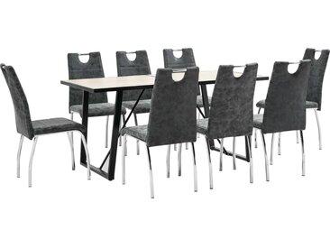 Ensemble de salle à manger 9 pcs Noir Similicuir - vidaXL