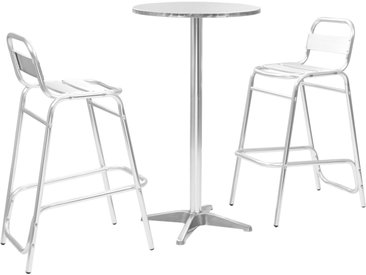 Ensemble de bar 3 pcs avec table ronde Argenté Aluminium - vidaXL