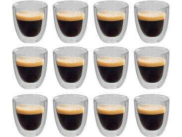 Verres thermos à double paroi pour café expresso 12 pcs 80 ml  - vidaXL