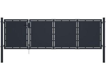 Portail de jardin Acier 350 x 75 cm Anthracite - vidaXL