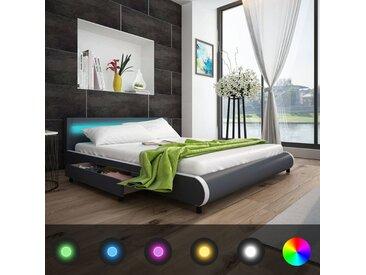Lit de 180 cm avec tête de lit et LED + Matelas à mémoire de forme   - vidaXL