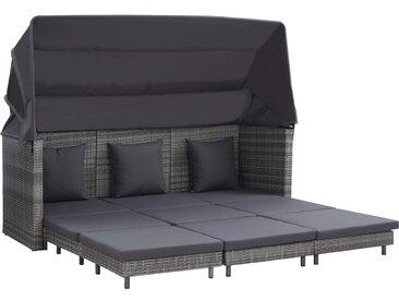 Canapé-lit extensible 3 places avec toit Résine tressée Gris - vidaXL