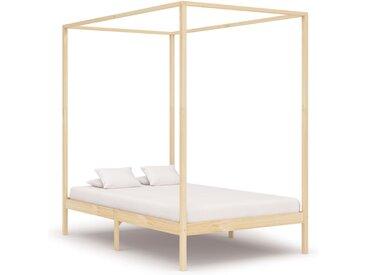 Cadre de lit à baldaquin Bois de pin massif 140 x 200 cm - vidaXL