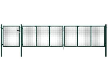 Portail de jardin Acier 500 x 100 cm Vert - vidaXL