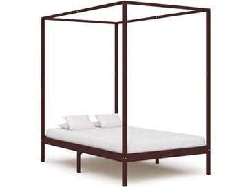 Cadre de lit à baldaquin Marron foncé Pin massif 120 x 200 cm - vidaXL
