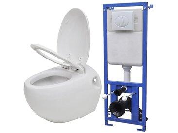 Toilette murale avec réservoir caché Design d'œuf Blanc - vidaXL