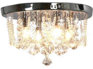 Plafonnier avec perles de cristal Argenté Rond 4 ampoules G9 - vidaXL