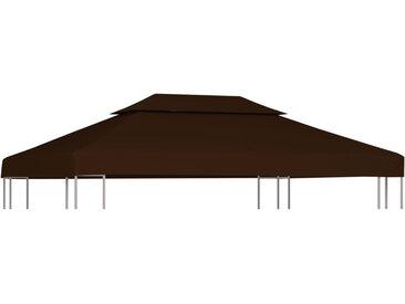 Toile supérieure double de belvédère 310 g/m² 4x3 m Marron - vidaXL