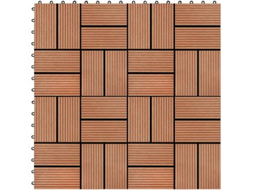Carreau de terrasse 11 pcs WPC 30 x 30 cm 1 m² Couleur Teck - vidaXL