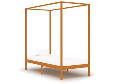 Cadre de lit à baldaquin Marron miel Pin massif 90x200 cm - vidaXL