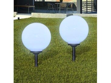 Boule solaire extérieure 30cm 2 pièces - vidaXL