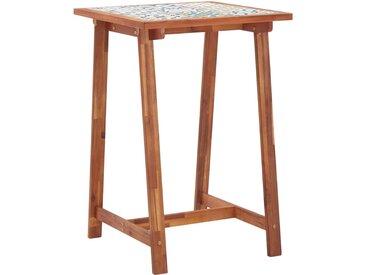 Table de bar de jardin 70x70x105 cm Bois d'acacia et carreaux - vidaXL