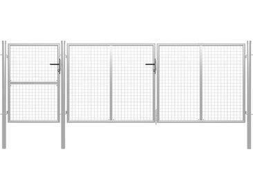 Portail de jardin Acier 400 x 125 cm Argenté - vidaXL
