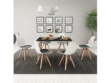 Ensemble de table et de chaises 7 pièces Noir et blanc - vidaXL
