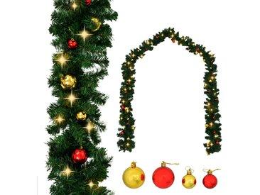 Guirlande de Noël décorée avec boules et lumières LED 10 m - vidaXL