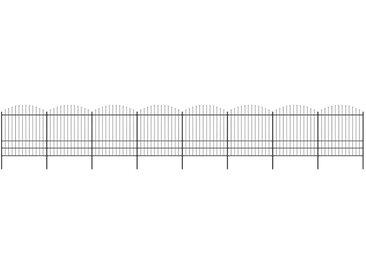 Clôture de jardin à dessus en lance Acier (1,75-2)x13,6 m Noir - vidaXL