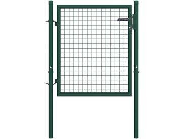Portail de clôture Acier 100x125 cm Vert - vidaXL