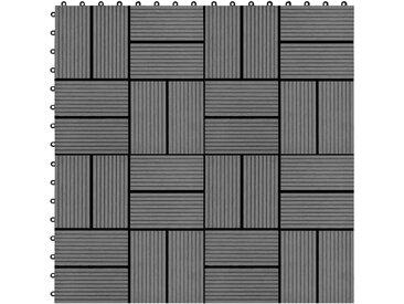 Carreau de terrasse 11 pcs WPC 30 x 30 cm 1 m² Gris - vidaXL
