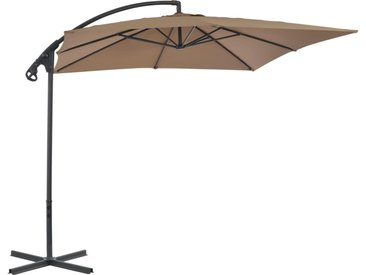 Parasol en porte-à-faux avec poteau en acier 250x250 cm Taupe - vidaXL