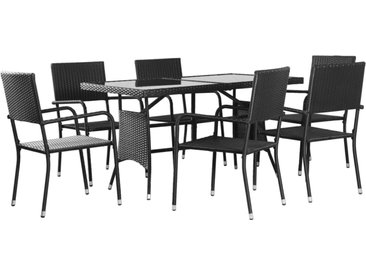 Ensemble à dîner d'extérieur 7 pcs Résine tressée Noir - vidaXL