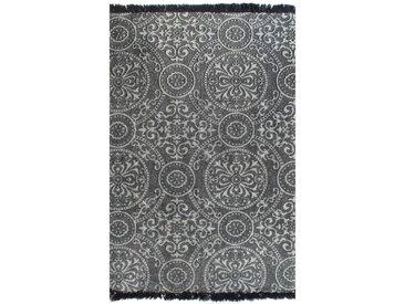 Tapis Kilim Coton 120 x 180 cm avec motif Gris - vidaXL