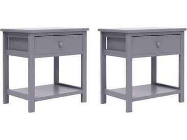 2 pcs Tables de chevet Gris 40x29x42 cm Bois de Paulownia - vidaXL