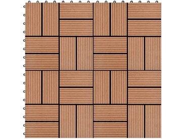 Carreau de terrasse 11 pcs WPC 30 x 30 cm 1 m² Marron - vidaXL