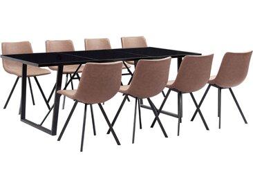 Ensemble de salle à manger 9 pcs Marron moyen Similicuir - vidaXL