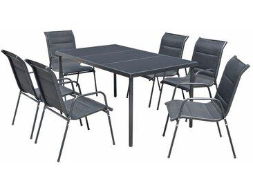 Mobilier de salle à manger d'extérieur 7 pcs Acier Noir - vidaXL