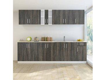 Armoire de cuisine avec unité de base pour évier 8 pcs Wengé  - vidaXL