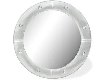 Miroir mural Cuir artificiel 60 cm Argenté brillant - vidaXL